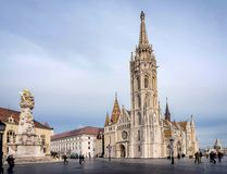 Matthias Church located in front of the Fisherman`s Bastion in B royalty free stock photos