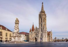 Matthias Church located in front of the Fisherman`s Bastion in B stock image