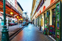 Street view of historic architectural in Budapest, Hungary stock images