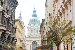 Street view of historic architectural in Budapest, Hungary royalty free stock photos