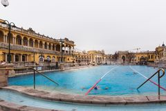 BUDAPEST, HUNGARY - January 24, 2019: The Szechenyi thermal bath, the largest medicinal bath in Europe stock photos