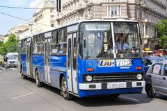 Ikarus 280. Budapest, Hungary - July 23, 2014: Articulated city bus Ikarus 280 in the city street stock photos