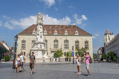 BUDAPEST, HUNGARY, - JULY 21, 2015:  Holy trinity square at the castle district Royalty Free Stock Images