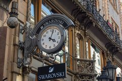 BUDAPEST, HUNGARY - JULY 5, 2018: SWAROVSKI fashion store. Swarovski is an Austrian producer of crystal headquartered in Wattens, Stock Image