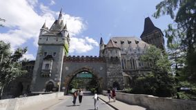 Budapest, Hungary - July 13th, 2017: Beautiful medieval castle on the lakefront. City Park of Budapest Hungary stock video