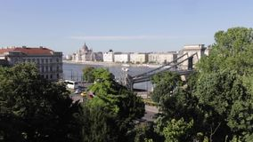 Budapest, Hungary - July 13th, 2017: The famous Chain Bridge across the Danube in Budapest, Hungary Europe stock video footage