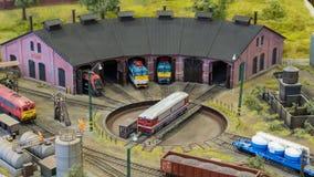 Budapest, Hungary - JUN 01, 2018: Miniversum Exhibition - Miniature model trains depot. Miniversum is one of the largest miniature exhibitions in the world and royalty free stock photography