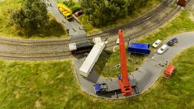 Budapest, Hungary - JUN 01, 2018: Miniversum Museum Exposition - Small scale toy representation of railway truck accident stock photos