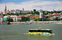 Budapest, Hungary - June, 02, 2018 - The amphibious Bus. The River Ride with the Water Bus, is a special sightseeing tour on which you can see the sights of royalty free stock photo