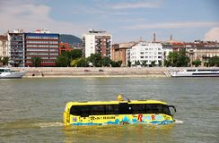 Budapest, Hungary - June, 02, 2018 - The amphibious Bus. The River Ride with the Water Bus, is a special sightseeing tour on which you can see the sights of stock images