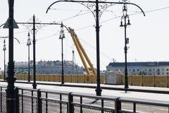 Budapest, Hungary – June 11, 2019; Clark Adam ship crane arm. Budapest, Hungary – June 11, 2019; Image of the Clark Adam ship crane arm from stock photo