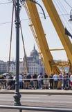 Budapest, Hungary – June 11, 2019; Clark Adam ship crane arm. Budapest, Hungary – June 11, 2019; Image of the Clark Adam ship crane arm and the stock images