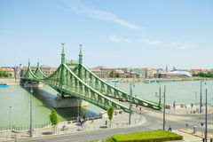 BUDAPEST, HUNGARY - JUNE 15, 2016: Liberty or Freedom Bridge connecting Buda and Pest across Dunabe River in Budapest, Hungary - J Stock Photography