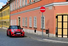 Mini cooper in the street of Budapest. BUDAPEST, HUNGARY - JUNE 4: Mini cooper in the street of Budapest on June 4, 2016 Royalty Free Stock Image
