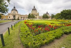 Gardens and exterior view of the Széchenyi Spa  in Budapest, Hu Royalty Free Stock Image