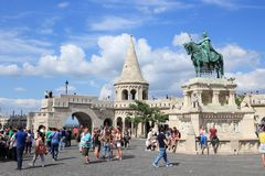 Budapest. HUNGARY - JUNE 20, 2014: People visit Fisherman's Bastion in . It is the largest city in Hungary and 9th largest in the EU (3.3 million people Stock Photography
