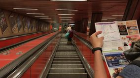 Budapest, Hungary Metro Station Escalator at the Kalvin Ter Line 3 Station stock footage