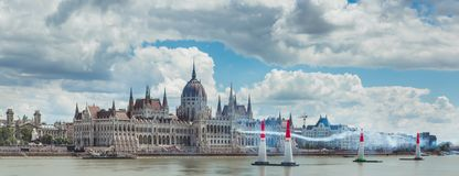 BUDAPEST, HUNGARY, JUNE 24 - 2018 - Red Bull Air Race in the center of capital city Budapest, Hungary stock images