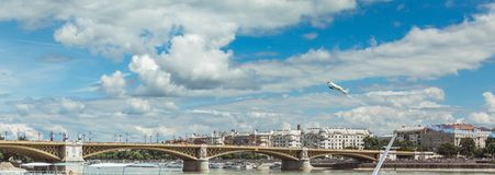 BUDAPEST, HUNGARY, JUNE 24 - 2018 - Red Bull Air Race in the center of capital city Budapest, Hungary stock image