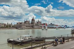 BUDAPEST, HUNGARY, JUNE 24 - 2018 - Red Bull Air Race in the center of capital city Budapest, Hungary royalty free stock image