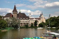 Budapest, Hungary - June 27, 2015: Vajdahunyad castle view from Stock Images