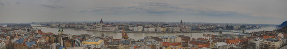 Budapest, Hungary  - a large panorama on the center of city Stock Image
