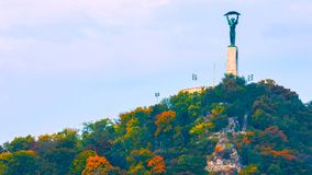 Budapest, Hungary - MAI 01, 2019 : Aerial view of the beautiful Hungarian Statue of Liberty with Liberty Bridge and skyline of royalty free stock photo