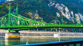 Budapest, Hungary - MAI 01, 2019 : Chain bridge on Danube river in Budapest city. Hungary. Urban landscape panorama with old. Buildings and domes of opera stock image