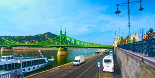 Budapest, Hungary - MAI 01, 2019 : Chain bridge on Danube river in Budapest city. Hungary. Urban landscape panorama with old. Buildings and domes of opera royalty free stock images