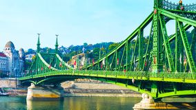 Budapest, Hungary - MAI 01, 2019 : Chain bridge on Danube river in Budapest city. Hungary. Urban landscape panorama with old. Buildings and domes of opera stock photography