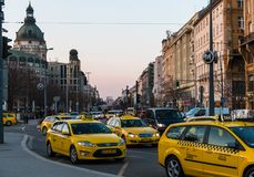 City traffic on the streets of Budapest, Hungary Stock Image