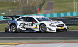 Budapest, Hungary, March 30 - 2014 DTM Mercedes f. Budapest, Hungary, March 30 - 2014 brand new DTM AMG Mercedes first laps with professional driver Paul Di stock photos