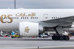 Budapest, HUNGARY - 2018 March 11, Editorial Use Only: Emirates Boeing 777-300 ER taking off - Emirates is the largest Royalty Free Stock Photos