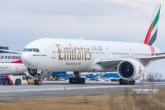 Budapest, HUNGARY - 2018 March 11, Editorial Use Only: Emirates Boeing 777-300 ER taking off - Emirates is the largest Stock Image