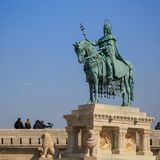 Budapest, Hungary, March 22 2018: Hungarian hero on a horse - Equestrian statue of King Stephen I Szent Istvan kiraly. In the Fischer Bastion, 1906, Buda Castle stock image