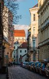 Old narrow street in Budapest, Hungary Stock Photography