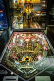 Budapest, Hungary - March 25, 2018: Pinball museum. Pinball table close up view of vintage machine Royalty Free Stock Photography