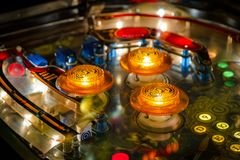 Budapest, Hungary - March 25, 2018: Pinball museum. Pinball table close up view of vintage machine Stock Photography