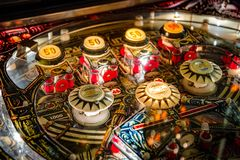 Budapest, Hungary - March 25, 2018: Pinball museum. Pinball table close up view of vintage machine Royalty Free Stock Images