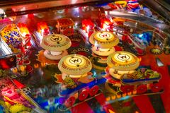 Budapest, Hungary - March 25, 2018: Pinball museum. Pinball table close up view of vintage machine stock images