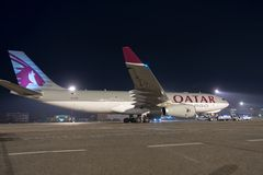 BUDAPEST, HUNGARY - MARCH 5 -  QUATAR Airbus A330 Stock Photo