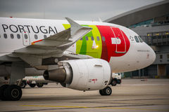 BUDAPEST, HUNGARY - MARCH 5 - TAP portugal flight Royalty Free Stock Photo