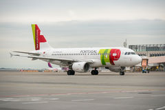 BUDAPEST, HUNGARY - MARCH 5 - TAP portugal flight Royalty Free Stock Photography