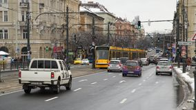 Traffic in the city. Public transport. Budapest, Hungary - March 18, 2018: Traffic in the city Public transport stock video footage