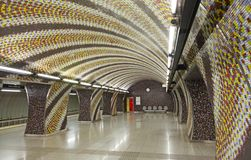 Beautiful metro station with mosaic pattern on the walls in Budapest stock images