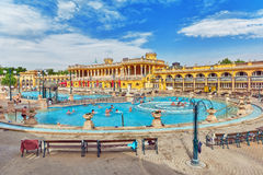 BUDAPEST, HUNGARY- MAY 05,2016: Courtyard of Szechenyi Baths, Hungarian thermal bath complex and spa treatments. royalty free stock images