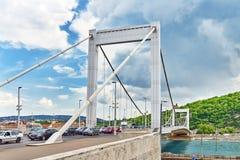 BUDAPEST HUNGARY-MAY 05, 2016: Elisabeth Bridge i Budapest, br Arkivfoton