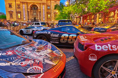 BUDAPEST, HUNGARY-MAY 05,2016: Exhibition of sports cars in fron Royalty Free Stock Image