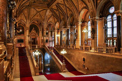 BUDAPEST, HUNGARY - MAY 8, 2016: Interior view of Parliament Building. Stock Image