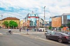BUDAPEST HUNGARY-MAY 03, 2016: Stads- sikt för härligt landskap Fotografering för Bildbyråer